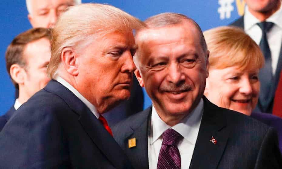 Donald Trump and Turkey's President Recep Tayyip Erdoğan at the Nato summit in the UK on 4 December.