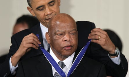John Lewis is presented with the Medal of Freedom by President Barack Obama, in February 2011.