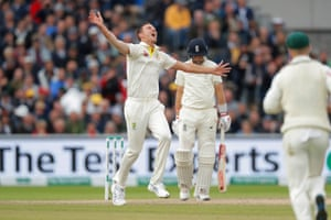 Josh Hazlewood celebrates taking the wicket of Joe Root for 71.