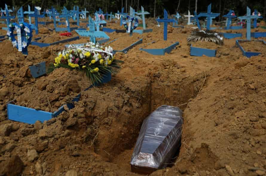 The Parque Taruma cemetery in Manaus. The Brazilian president Bolsonaro has been caught peddling fake news.