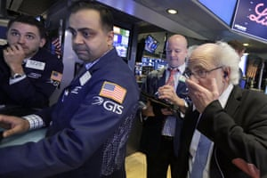 Traders on the floor of the New York Stock Exchange today