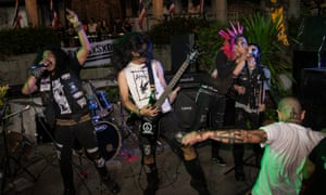 Thailand punk band Blood Soaked Street of Social Decay, with Kitikea 'Pure Punk' Kanpim on back-up vocals.