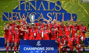 Saracens lift the Champions Cup trophy after beating Leinster in May. Only those two teams and Toulon have won the competition since 2010.