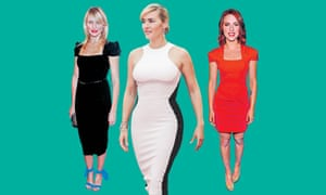 Cameron Diaz (left) and Scarlett Johansson (right) in Roland Mouret's Galaxy dress; and Kate Winslet (centre) in Stella McCartney's Octavia dress.
