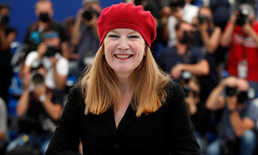 Andrea Arnold promoting her documentary, Cow, at Cannes.