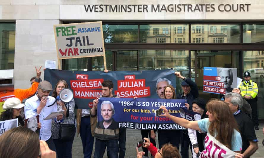 Julian Assange supporters outside Westminster magistrates court in London