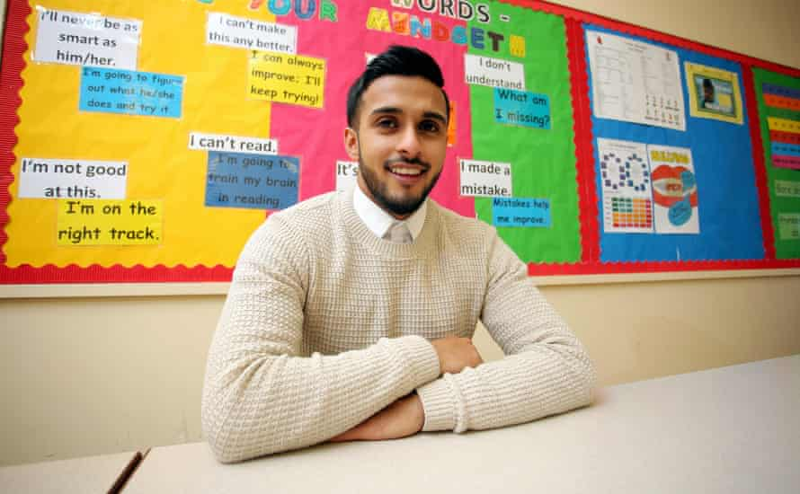 Juhel Miah at the school where he teaches in Neath, Wales