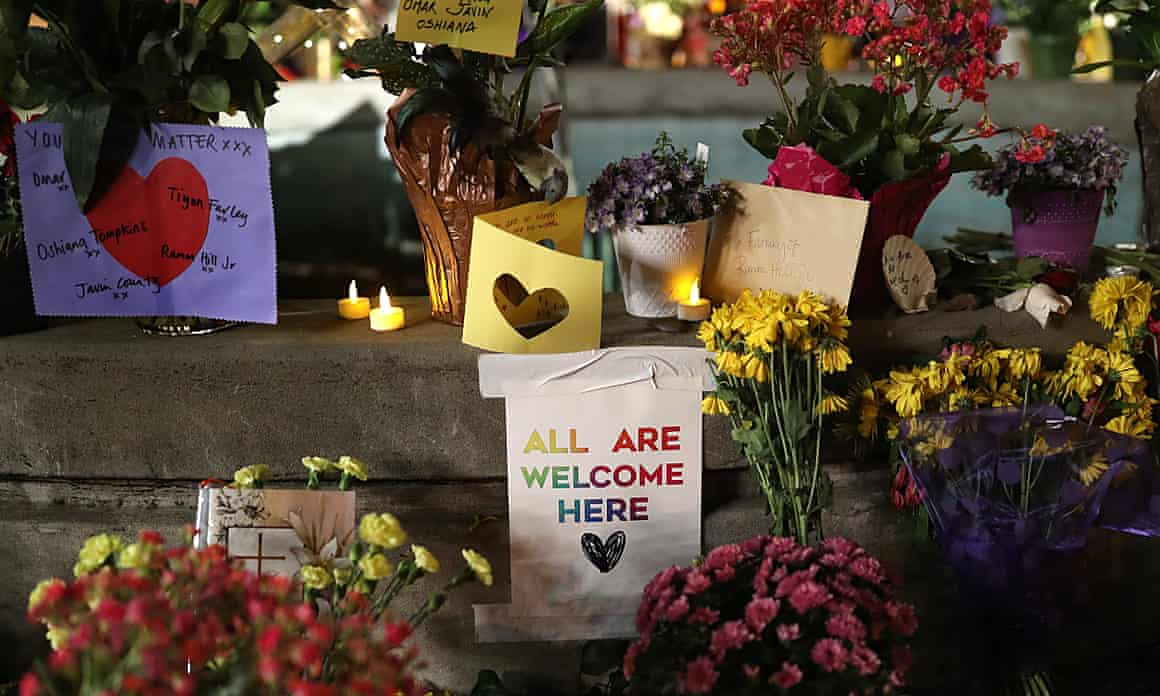 A makeshift memorial for the Airbnb house rental shooting victims in Orinda, Calif., on Tuesday, Nov. 5, 2019.