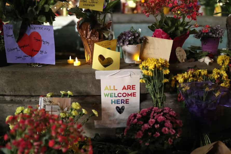 The Orinda Theatre Square features a memorial for the victims killed in shooritn at a Halloween party.