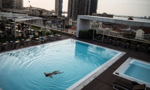 Enjoying the rooftop pool at the Epic Sana hotel
