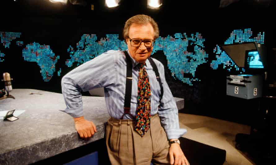 Larry King on set in 1994. Unlike some interviewers, King listened to the answers.