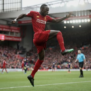 Sadio Mane celebrates scoring Liverpool's second goal against Bournemouth at Anfield on 7 March 2020.