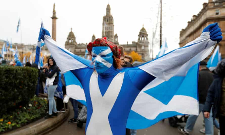 A pro-Scottish independence rally in Glasgow in 2019.