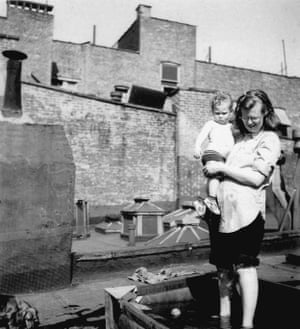 Shirley Jackson with her son Lawrence Jackson Hyman in Greenwich Village, New York circa 1944
