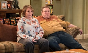 Roseanne Barr and John Goodman in a scene from the reboot of Roseanne.
