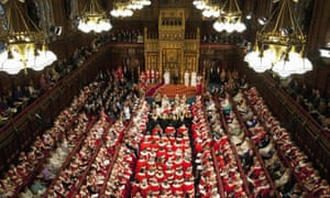 Members of both houses of parliament fill the Chamber of the House of Lords