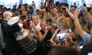 Fans take pictures of the Stanley Cup at the MGM Grand in Las Vegas.