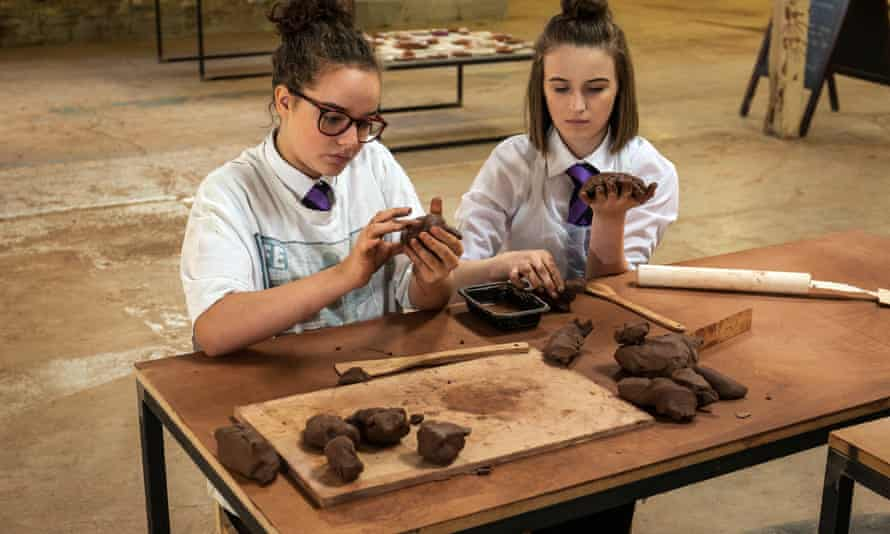 Lizzie Critchley and Jorja Wright with clay