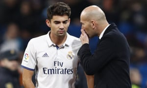 Zinedine Zidane speak with son Enzo Zidane during the Copa del Rey round of 32 second leg match between Real Madrid and Cultural Leonesa in 2016.