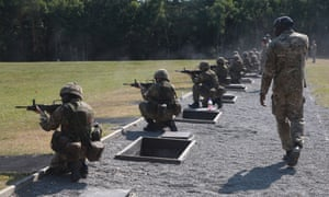 Female British army recruits on the live firing range