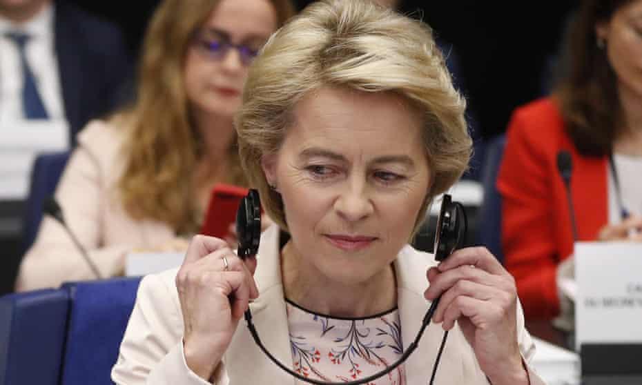 The incoming European commission president, Ursula von der Leyen.