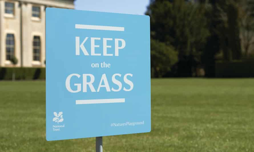 Keep on the Grass sign, part of the Nature's Playground National Trust project