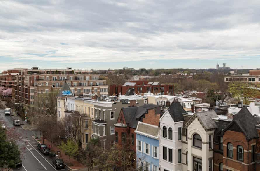 View look west on N Street NW from the Private Roof Deck on one of two Penthouse Units at Pacifica on March 20, 2020 in Washington DC.