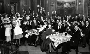 German-Americans celebrate the end of prohibition at the Bismarck hotel, Chicago.
