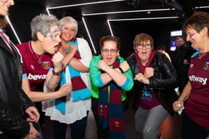 West Ham fans including Jo Bailey (second right) and Claire Sweeney (centre).