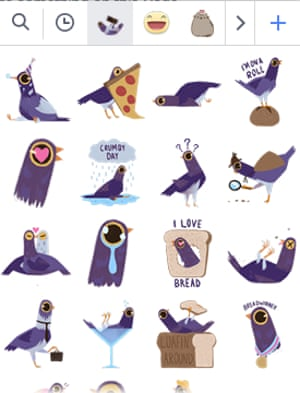 Syd Weiler's Trash Dove Facebook messenger stickers.