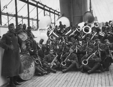 Lieutenant James Reese Europe, far left, with the jazz band of the 369th Infantry Regiment on the way home from war.