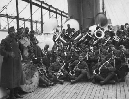 Lieutenant James Reese in Europe (far left) with the jazz band of the 369th Infantry Regiment.