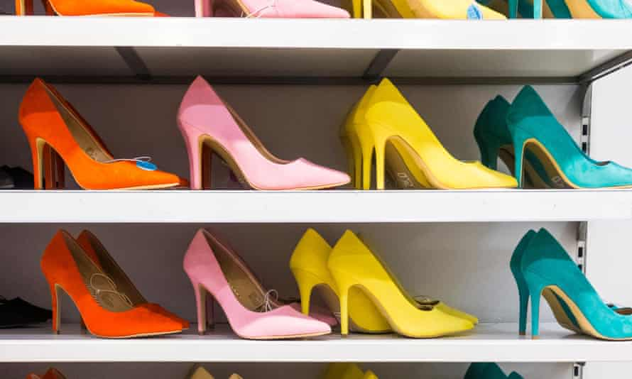 High heel shoes on display in a store