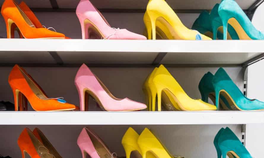 High-heeled shoes on store shelf