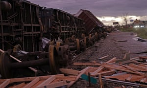 Derailed box cars are seen in the aftermath of Hurricane Michael in Panama City.