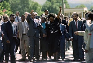 Nelson and Winnie Mandela after he was released from prison