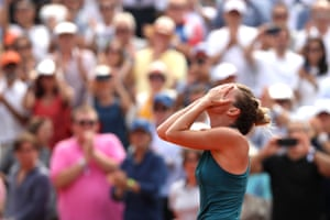 Simona Halep of Romania celebrates victory .