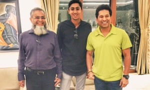 Haseeb Hameed at home with his father, and former India cricket captain Sachin Tendulkar.
