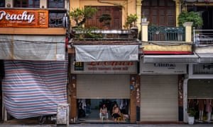 Shops at Hanoi's Old Quarter, a popular area normally packed with tourists, are closed amid concerns of the spread of the Coronavirus on March 26, 2020 in Vietnam.