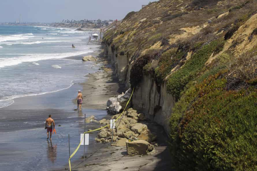 The area of the collapse is taped off in Encinitas.