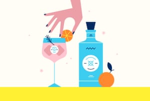Illustration of hand placing slice of orange on rim of cocktail next to bottle of Malfy Gin