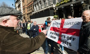 A pro-EU supporter argues with pro-Brexit counter-demonstrators during the Unite for Europe march on 27 March 2917.