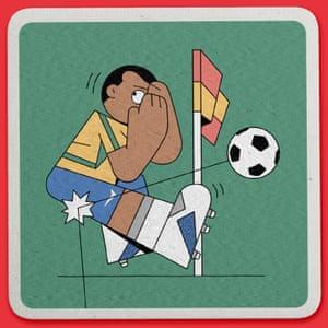 Weird World Cup design by Dan Woodger refers to Rivaldo's ridiculous dive. 3 June 2002, Munsu Football Stadium, South Korea.