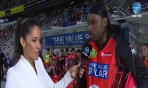 The now infamous interview with Channel Ten reporter Mel McLaughlin after a Big Bash T20 League game in Australia in January 2016.