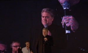 Steve Bannon speaks at a far right event in Rome
