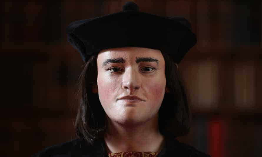 A facial reconstruction of Richard III, based on the remains discovered in Leicester.