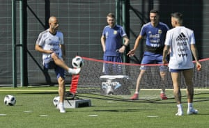 Mascherano during an Argentina training session on Saturday in Sant Joan Despi, Spain.