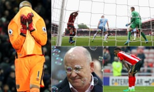 Clockwise from far left: West Ham had issues at the back, Ryan Shawcross scored an own goal off his backside, Sunderland went down and Mike Phelan did not last long.