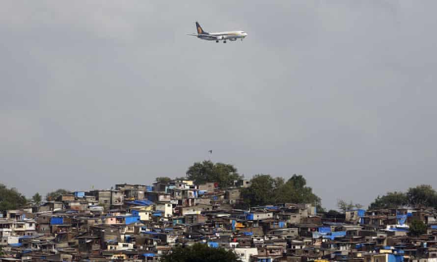 A Jet Airways plane prepares to land at Mumbai