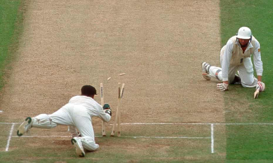 Michael Atherton is run out by Ian Healy on 99 at Lord's in 1993.